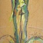Norden - Zeichnung von Susanne Haun - Ölkreide und Acryl auf handgeschöpften Bütten - 2005 - 60 x 20 cm