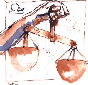 Waage Vers. 2 - Zeichnung von Susanne Haun - 20 x 20 cm - Tusche auf Bütten