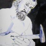Culann der Schmied - Zeichnung von Susanne Haun - 40 x 30 cm - Tusche auf Bütten