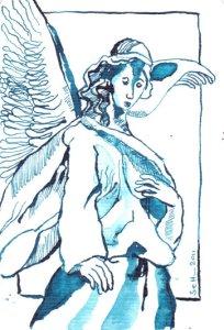 Schutzengel - Zeichnung von Susanne Haun - 15 x 10 cm - Tusche auf Hahnemühle Bütten