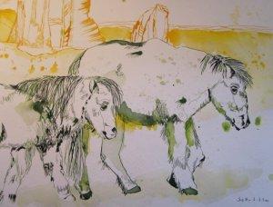 Lass die Pferde jetzt zur Grasweide, kleiner Knabe - Zeichnung von Susanne Haun - 40 x 30 cm - Tusche auf Bütten
