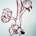Ausschnitt Stockrose - Zeichnung von Susanne Haun auf Malplatte 40 cm Durchmesser
