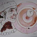 Ich werde meine Hand für ihn an den Kunststück-Schwippstock legen - Zeichnung von Susanne Haun