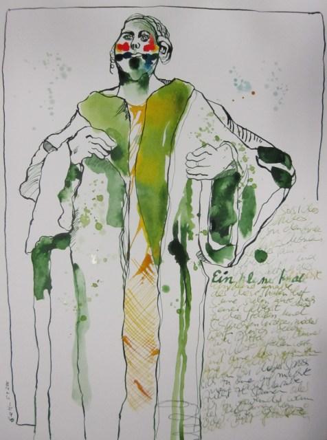 Vier Flecke auf jeder seiner zwei Wangen ein blauer Fleck, ein purpurner Fleck - Zeichnung von Susanne Haun