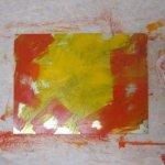 Ich kombiniere (mische) gelb und rot auf der Platte - Foto von Susanne Haun