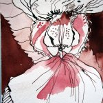 Frauenschuh? - Zeichnung von Susanne Haun - Tusche auf Bütten - 10 x 15 cm