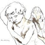 Schlafender Engel - Zeichnung von Susanne Haun - Tusche auf Bütten - 24 x 17 cm