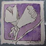 Blüte 5 lila koloriert - Zeichnung von Susanne Haun - Tusche auf Bütten - 10 x 10 cm
