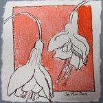 Blüte 2 zinnoberrot koloriert - Zeichnung von Susanne Haun - Tusche auf Bütten - 10 x 10 cm