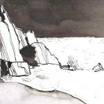 Am Klippenrand - Zeichnung von Susanne Haun - Tusche auf Bütten - 22 x 17 cm