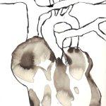 Entstehung: Die lichtlose Ecke des Herzens - Zeichnung von Susanne Haun - Sepia auf Bütten - 22 x 17 cm