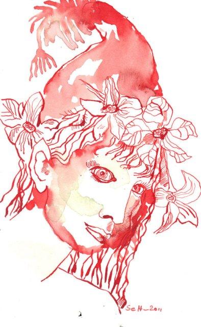 Weihnachtswichtelmädchen - Zeichnung von Susanen Haun - Tusche auf Burgund Bütten - 22 x 17 cm