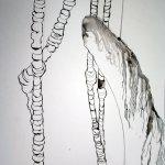 Ich möchte zwei Flamingos auf den Engelskopf setzen - Zeichnung von Susanne Haun