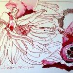 Verblühte Gerbera und Cyclame - Zeichnung von Susanne Haun - 17 x 22 cm - Tusche auf Bütten