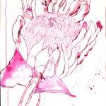 Kaprose - Zeichnung von Susanne Haun - 30 x 20 cm - Tusche auf Lanaquarelle