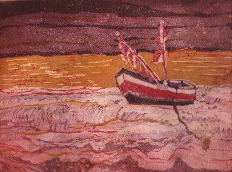 In der Ferne - Radierung von Susanne Haun - Aquatinta, 3 Platten, 2011, Auflage: 25 Stück, 20 x 15 cm