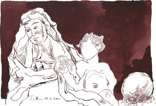 Die heilige Anna und das Jesuskind - Zeichnung von Susanne Haun - Tusche auf Lanaaquarell - 18 x 26 cm