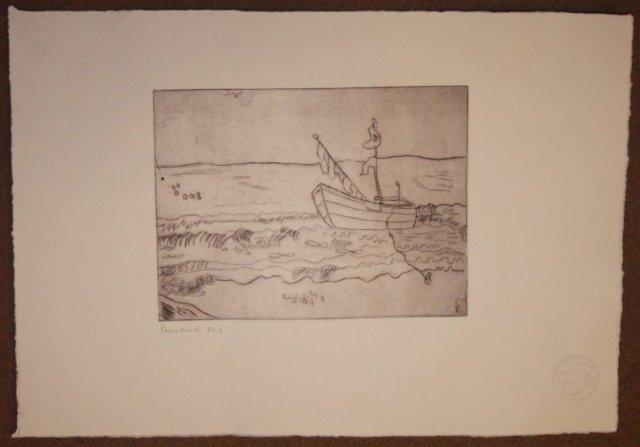 """1. Probedruck """" In der Ferne"""" - Radierung von Susanen Haun - 15 x 20 cm"""