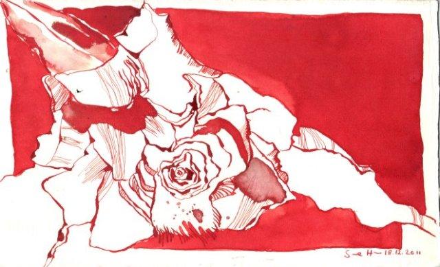 Rose - Zeichnung von Susanne Haun - Tusche auf Fabriano Bütten - 17 x 28 cm