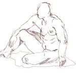 Position 2: sitzender Akt - Version 2 - Skizze von Susanne Haun