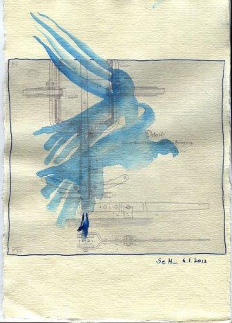Flügelschwung - ÜberZeichnung von Susanne Haun - 30 x 20 cm - Tusche auf Bütten