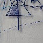Ausschnitt Lilienthal Gleiter - Zeichnung auf Glas von Susanne Haun
