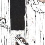 Einsam - Zeichnung von Susanne Haun - Tusche auf Burgund Bütten - 17 x 22 cm