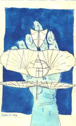 Den Traum vom Fliegen in der Hand - ÜberZeichnung von Susanne Haun - Tusche auf Bütten - 30 x 20 cm
