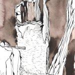 Ist der breite, Weg um so schrecklicher - Zeichnung von Susanne Haun - Tusche auf Burgund Bütten - 17 x 22 cm