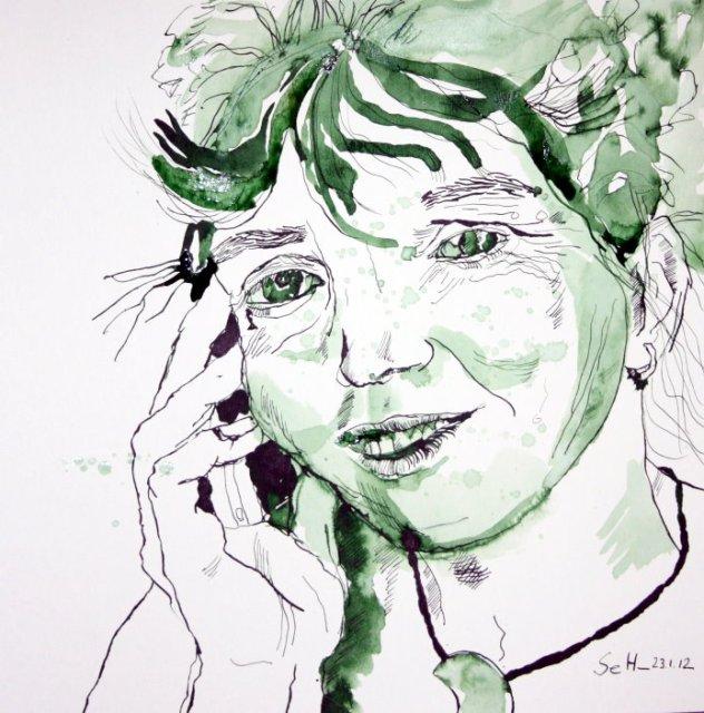 Durch meines Bruders Augen - Zeichnung von Susanne Haun - 35 x 35 cm - Tusche auf Bütten