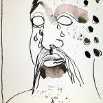 Steinerne Träne Version 3 - Zeichnung von Susanne Haun - 22 x 17 cm - Sepia auf Burgung Aquarellpapier
