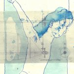 Schweben wie beim Tanzen - Version 1 - ÜberZeichnung von Susanne Haun - Tusche auf Bütten - 40 x 30 cm