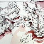 Drei Blüten, 30 x 40 cm, Tusche auf Bütten (c) Zeichnung von Susanne Haun