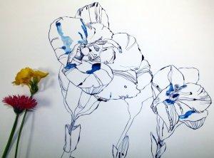 Entstehung Freesie und Größenvergleich (c) Zeichnung von Susanne Haun