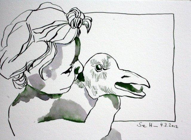 Gänsewürger Version 1 Tusche auf Bütten 23 x 31 cm (c) Zeichnung von Susanen Haun