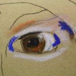 Merles zweites Auge auf Hahnemühle Kraftpapier (c) Pastell von Susanne Haun