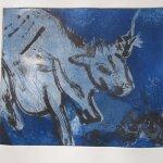Kuh Kobaldblau 20 x 25 cm Aquatinta 2 Platten(c) Radierung von Susanne Haun
