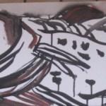 Erlegt 30 x 100 cm Tusche und Acryl auf Leinwand (c) Susanne Haun
