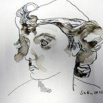 Engel, 17 x 22 cm, Tusche auf Bütten (c) Zeichnung von Susanne Haun