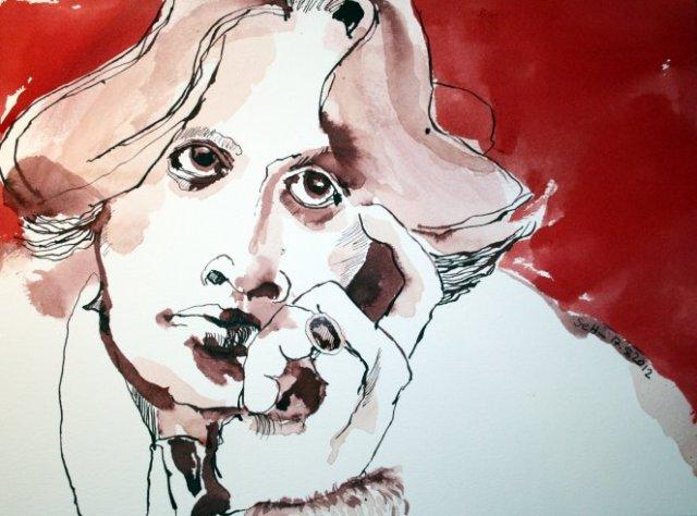 Oscar Wilde 34 x 22 cm Tusche auf Bütten (c) Susanne Haun