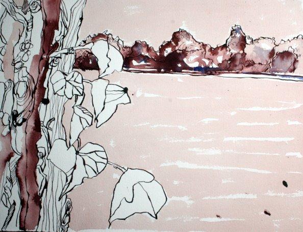 Niederneuen Dorfer See 30 x 40 cm Tusche auf Bütten (c) Zeichnung von Susanne Haun