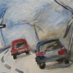 2006 Windräder auf der Autobahn Acryl und Tusche auf Papier 30 x 40 cm (c) Susanne Haun