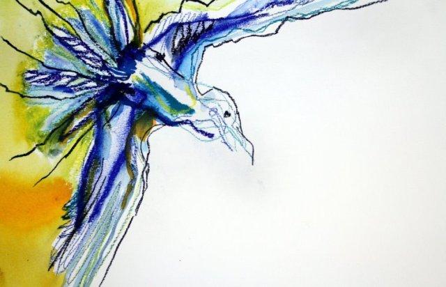 Der Traum vom Fliegen (c) Zeichnungen von Susanne Haun mit Pastell und Tusche