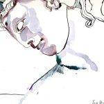 Entstehung und Ausschnitt Helena von Troja 30 x 40 cm Tusche auf Bütten (c) Zeichnung von Susanne Haun