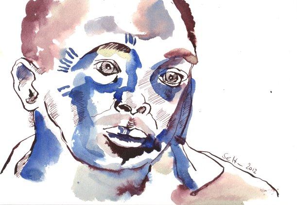 Mein Sinnbild von Kéré 17 x 22 cm Tusche auf Bütten (c) Zeichnung von Susanne Haun