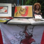 Während des Sommerfest zeige ich meine Arbeiten (c) Foto von Susanne Haun