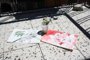 Meine Zeichnungen auf dem Balkon (c) Foto von Susanne Haun