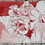 Rote Blumen 17 x 22 cm Tusche auf Burgund (c) Zeichnung von Susanne Haun