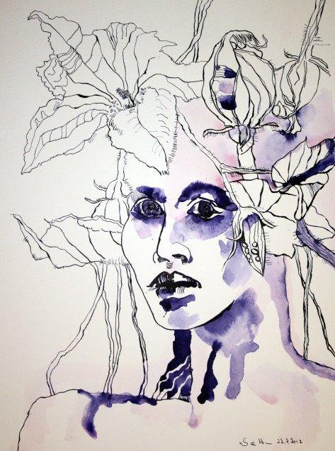 Kürbisfrau 40 x 30 cm Tusche auf Bütten (c) Zeichnung Susanne Haun