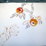 Eva greift nach dem Apel (c) Zeichnung von Susanne Haun